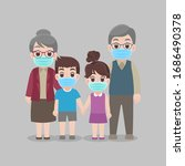 family  wearing protective... | Shutterstock .eps vector #1686490378
