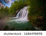 Virje waterfall in NW Slovenia, near Bovec. - stock photo