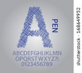 pen sketch alphabet and numbers ... | Shutterstock .eps vector #168649952
