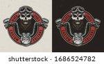 vintage custom motorcycle...   Shutterstock . vector #1686524782
