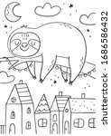 cute cartoon coloring page with ... | Shutterstock .eps vector #1686586432
