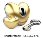 gold valentine heart  with a keyhole and key. Isolated on white background - stock photo