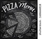 pizza menu names of dishes ...   Shutterstock .eps vector #168666818