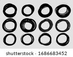 hand drawn circle sketch frame... | Shutterstock .eps vector #1686683452