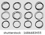 hand drawn circle sketch frame... | Shutterstock .eps vector #1686683455