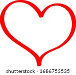 red heart   outline drawing for ... | Shutterstock .eps vector #1686753535