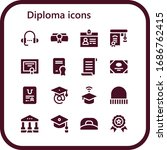 Diploma Icon Set. 16 Filled...