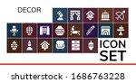 decor icon set. 19 filled decor ... | Shutterstock .eps vector #1686763228