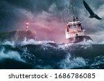 Ship lighthouse storm waves sea