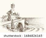 lighthouse landscape  sea shore ...   Shutterstock .eps vector #1686826165