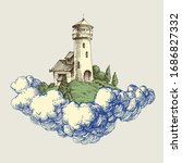 lighthouse on a cloud in the... | Shutterstock .eps vector #1686827332