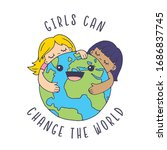 girls can change the world  a... | Shutterstock .eps vector #1686837745