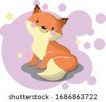 Cartoon Red Fox Flat Design ....