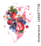berry mix with splashes of... | Shutterstock . vector #1686877738
