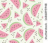 watermelon slices with seed....   Shutterstock .eps vector #1686895948