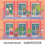 people in windows staying home... | Shutterstock .eps vector #1686903328