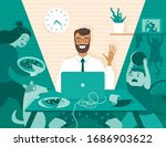 dad freelancer has... | Shutterstock .eps vector #1686903622