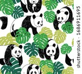 panda seamless pattern in... | Shutterstock .eps vector #1686911695