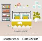 bedroom interior. vector banner ... | Shutterstock .eps vector #1686920185