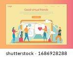 virtual friends flat vector...