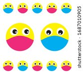 emoji with mouth mask set ... | Shutterstock .eps vector #1687010905