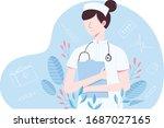nurse holding a case medicine... | Shutterstock .eps vector #1687027165
