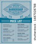 barbershop price list flyer.... | Shutterstock .eps vector #1687028788
