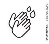 hand wash icon in trendy line...   Shutterstock .eps vector #1687034698