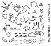 hand drawn set of abstract... | Shutterstock .eps vector #1687064305