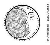 ethnic cresent moon motif....   Shutterstock .eps vector #1687092565