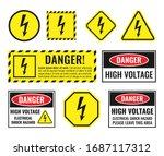 high voltage sign set  danger... | Shutterstock .eps vector #1687117312
