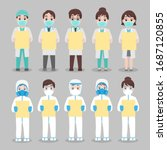 set of doctor and nurse in... | Shutterstock .eps vector #1687120855