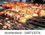 bar b q or bbq grill of meat