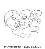 stylized one line portrait... | Shutterstock .eps vector #1687133128