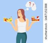 healthy food versus fast food.... | Shutterstock .eps vector #1687152388