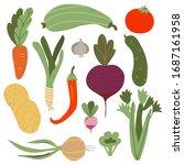 vegetable set. farmers market... | Shutterstock .eps vector #1687161958