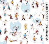 cartoon people enjoy outdoors...   Shutterstock .eps vector #1687215895