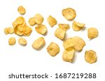 Small photo of Potato chips flying. Vegan beer snack isolated on white. Crispy home made veggie chip, levitation fly creative concept. Falling potato crisps background, top view