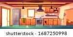 flooded rustic kitchen ... | Shutterstock .eps vector #1687250998