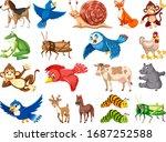 large set of wild animals on...   Shutterstock .eps vector #1687252588