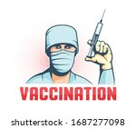 Doctor In Mask With Syringe In...