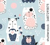 Funny Cats Seamless Pattern...