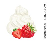 strawberry with whipped cream... | Shutterstock .eps vector #1687319995