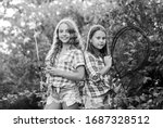 Good day for fishing. children with net and rod. summer holidays weekend. Fly Fishing Time. little kids spend time in camp. having fun. fish angler. two girls fishing. Big game fishing. summer hobby. - stock photo