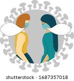 two girls talking in medical...   Shutterstock .eps vector #1687357018