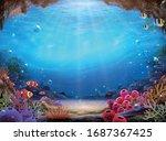 natural ocean bottom background ... | Shutterstock .eps vector #1687367425
