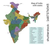 map of india with state borders | Shutterstock .eps vector #1687376545