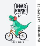 dinosaur riding the bicycle. ... | Shutterstock .eps vector #1687395475