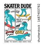 skater dinosaur vector... | Shutterstock .eps vector #1687403782