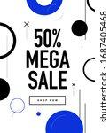 50  off mega sale flyer design. ... | Shutterstock .eps vector #1687405468